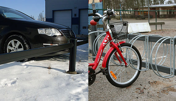 Parking fences and bicycle shelters