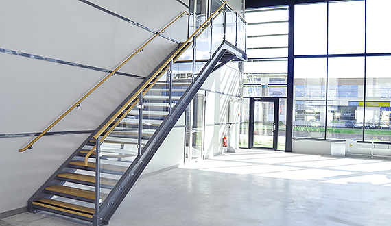 Straight flight staircases